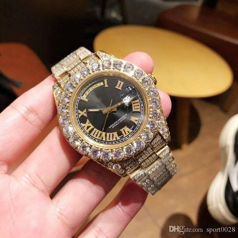 Yeni iş kaliteli 45mmX13mm reloj de lujo 316 paslanmaz çelik elmas izle montre de luxe relógio de luxo