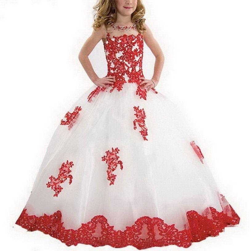 Weiß Rot Kleine Mädchen-Festzug-Kleid Lila und grünes Ballkleid Perlen SpitzeApplique bodenlangen Blumen-Mädchen-Kleid