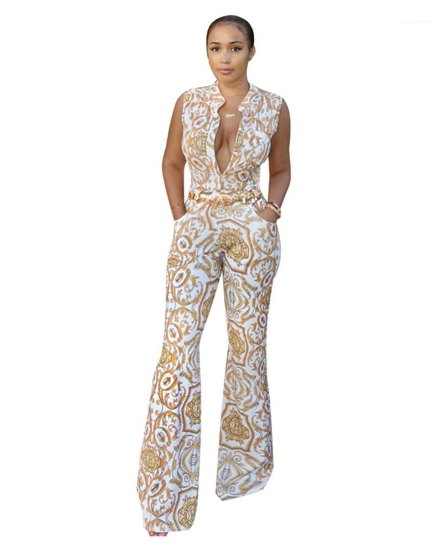 Lady Vêtements Nouvelle arrivée Femmes d'été en or Jumpsuits imprimés col en V profond Barboteuses Costumes One Piece manches