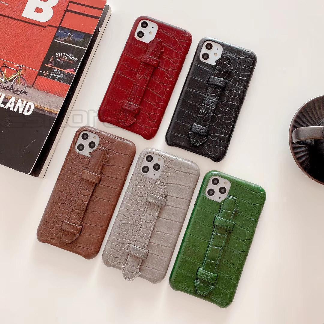 Klasik Timsah Deri Deri Shell Telefon Kılıfı IPhone için IPhoneX 8 8plus 7 7plus Tembel Stent Kapak için 11 X Xs Max 11pro Moda Kutuları