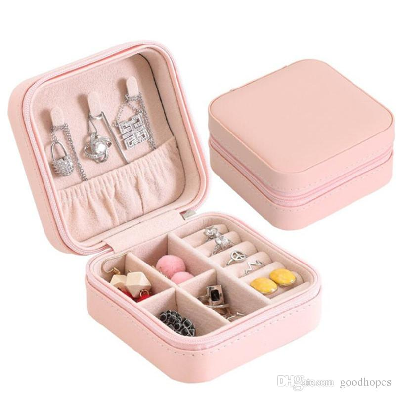 Travel Jewelry Box Organizer PU Leather Display Storage Case for Necklace Earrings Rings Small Jewelry Holder Gift Case