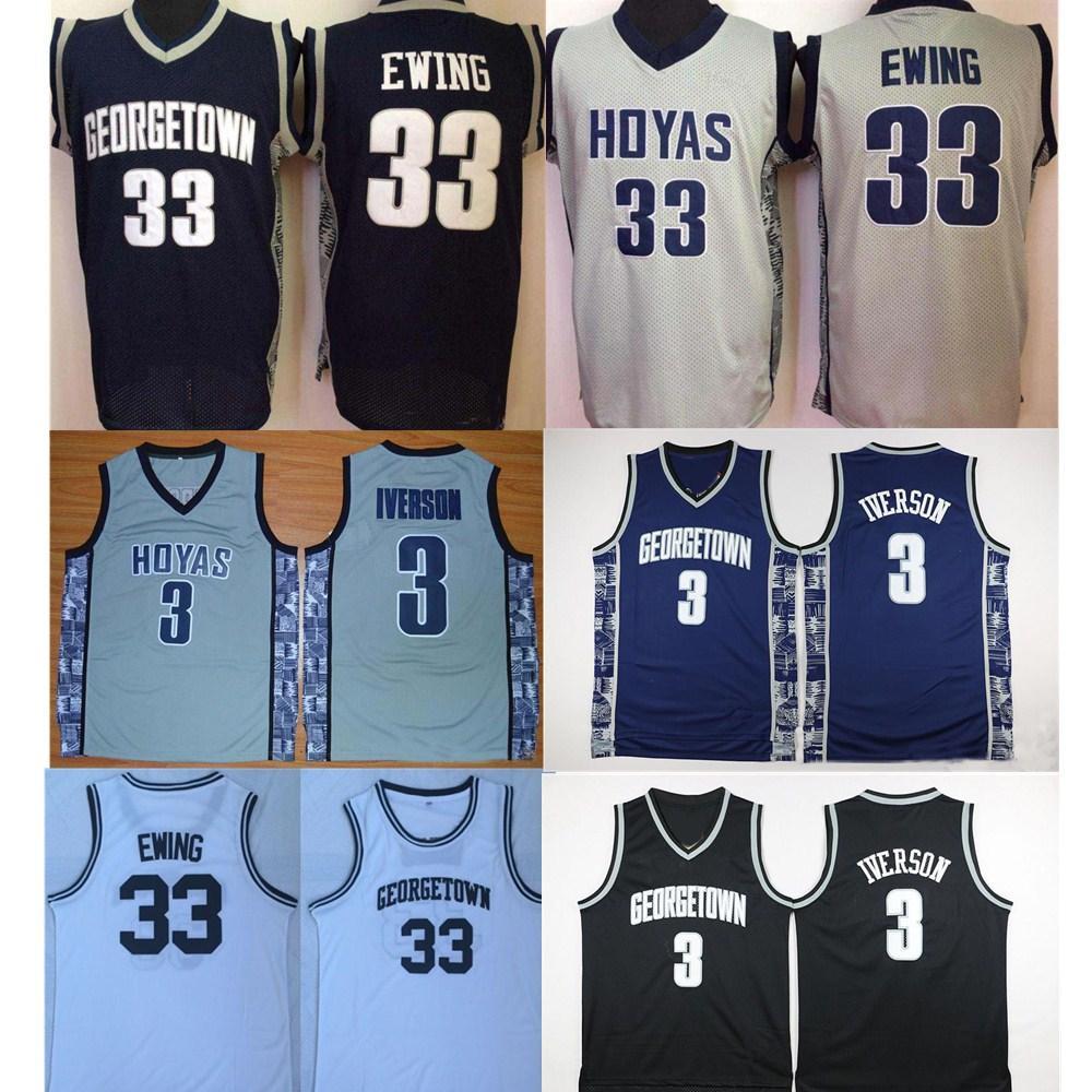 NCAA Mens Georgetown Hoyas Iverson College Jersey 저렴한 3 알렌 이버슨 33 Patrick Ewing University 농구 셔츠 좋은 스티치 저지