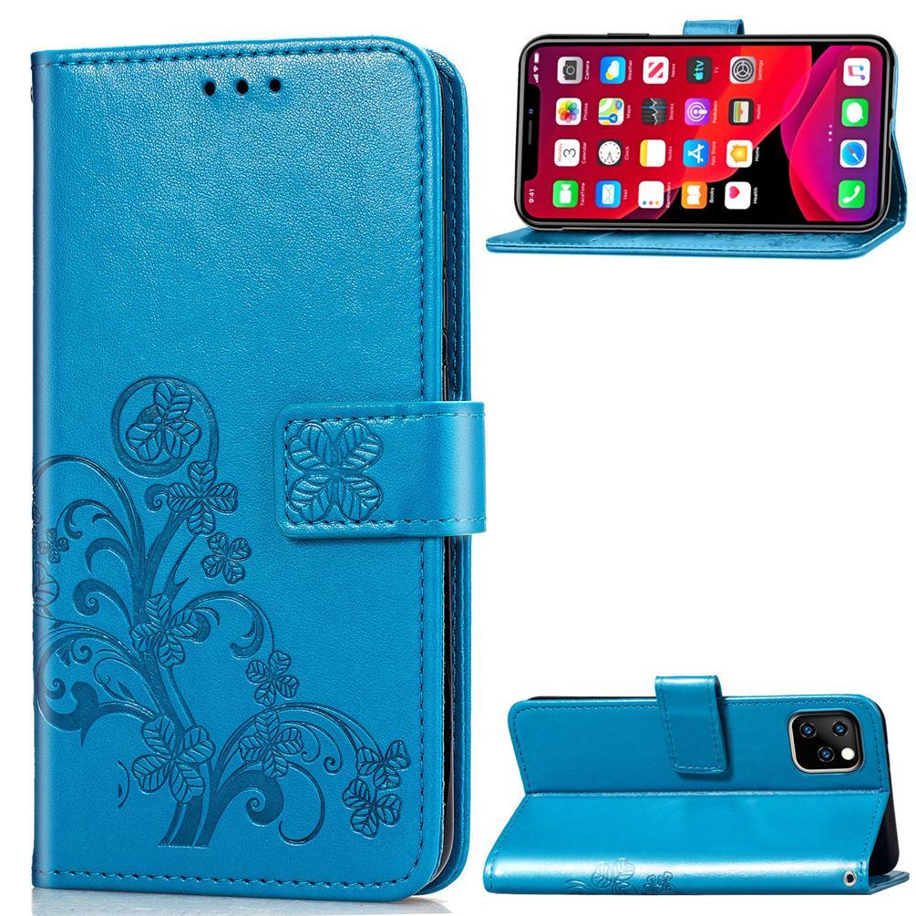 Wallet Flip pour iPhone 11 Pro MAX 2019 6,5 pouces PU Housse en cuir avec porte-cartes gaufrée chanceux à quatre feuilles Motif (iPhone11ProMAX)