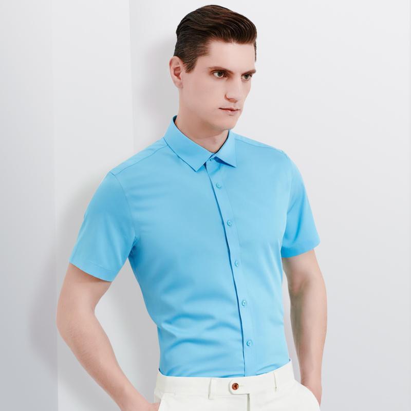 Мужские повседневные рубашки Летний с коротким рукавом, не железный бамбук-волокна рубашка карманный - меньше дизайн стандартный фигурное формальное ведение бизнеса