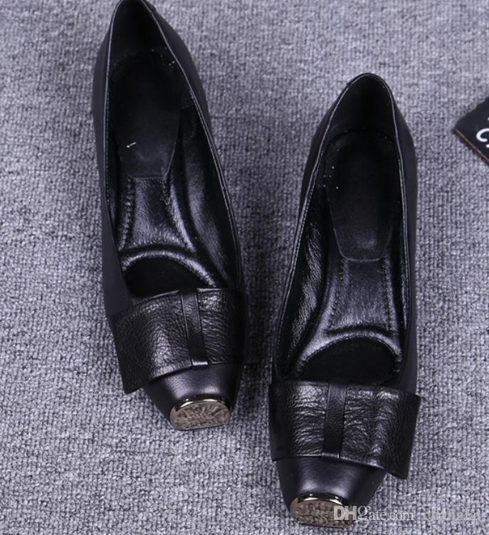 2019 souliers pour dames au printemps et en automne avec talon moyen style nouveau talon rugueux tête carrée bowknot n ° 95