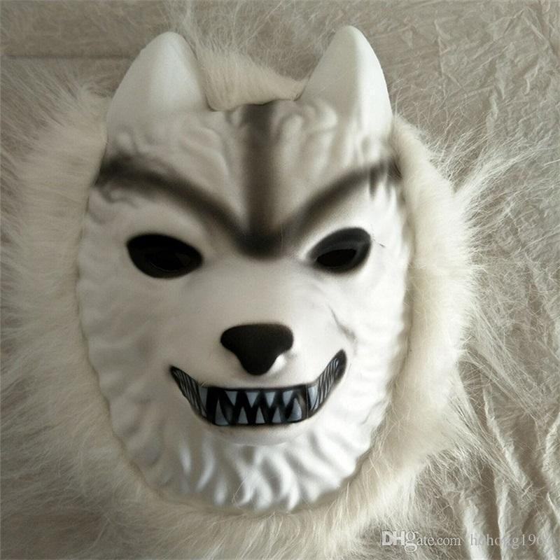 Белый Волк волос Маска дети малыш взрослые пластиковые анфас маски для Хэллоуина партии костюмы косплей поставки смешно 4fl BB