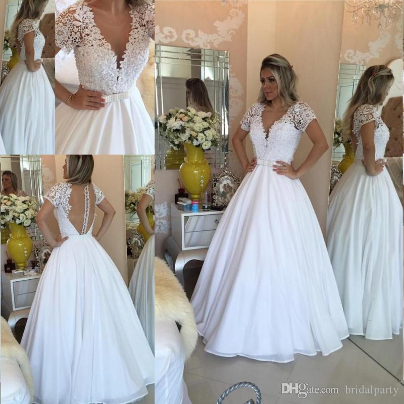 Discount Cheap A Line Beach Boho Wedding Dresses With Lace Short Sleeve Bridal Party Gown Elegant Women Wedding Gown A Line Gowns A Line Princess Wedding Dress From Bridalparty 107 42 Dhgate Com
