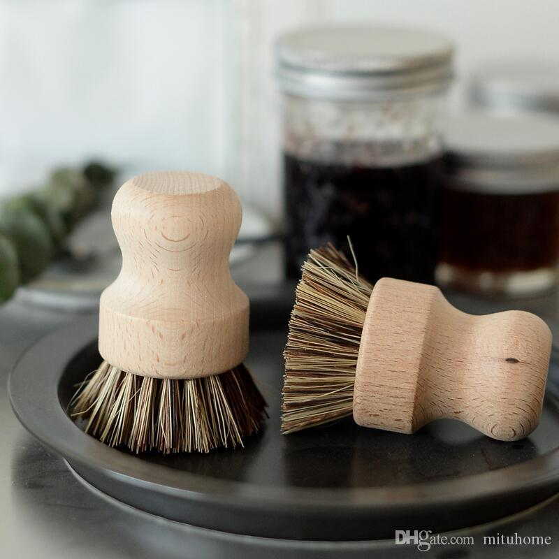 100pcs YENİ El Ahşap Fırça Dish Çanak Pan Temizleme Fırçalar Ev Mutfak Chores Rub Temizleme Aracı