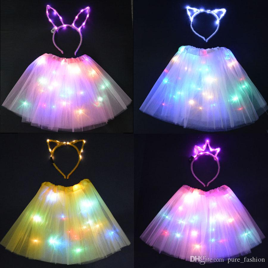 LED Party Light Wire Tutu Glow Cat Bunny Ear Crown headbands Stage Dancing Birthday Party Skirt Christmas Glow neon party 2 set/4 pcs