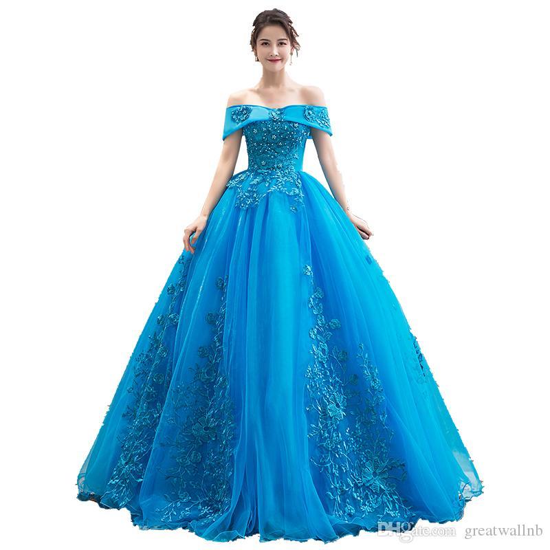 Freeship lago azul barroco vestido de baile vestido de princesa vestido Renascimento Medieval princesa vestido vestido de baile vitoriano