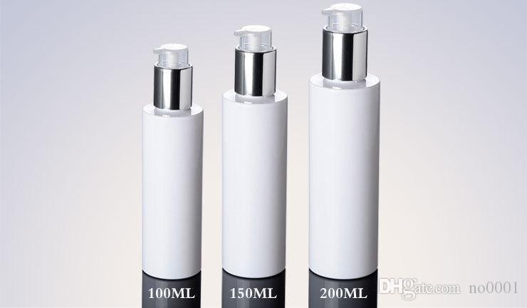 300 pz 100 ml 150 ml 200 ml viaggi bianco di plastica PET lozione Argento pompa Bottiglie Bottiglia Riutilizzabile Vuota Per Cosmetici Liquido Crema
