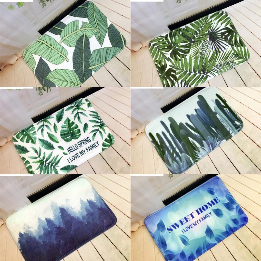디지털 인쇄 녹색 잎 EU 스타일 자연 나무 현관 매트 미끄럼 흙 털 지역 러그와 카펫 바닥 매트 실 부엌 카펫 화장실