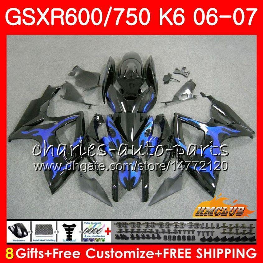 Body Blue Flames Neu für Suzuki GSX R750 GSX R600 GSXR 600 750 GSXR750 06-07 8HC.58 GSXR-750 GSX-R600 K6 GSXR600 06 07 2006 2007 Verkleidungsset