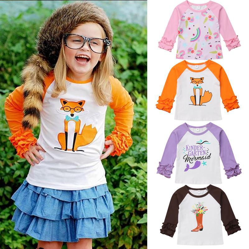 NUEVA camiseta de manga larga diseño de impresión tapa de la camiseta ropa para la muchacha del cabrito encantador del bebé ropa de bebé
