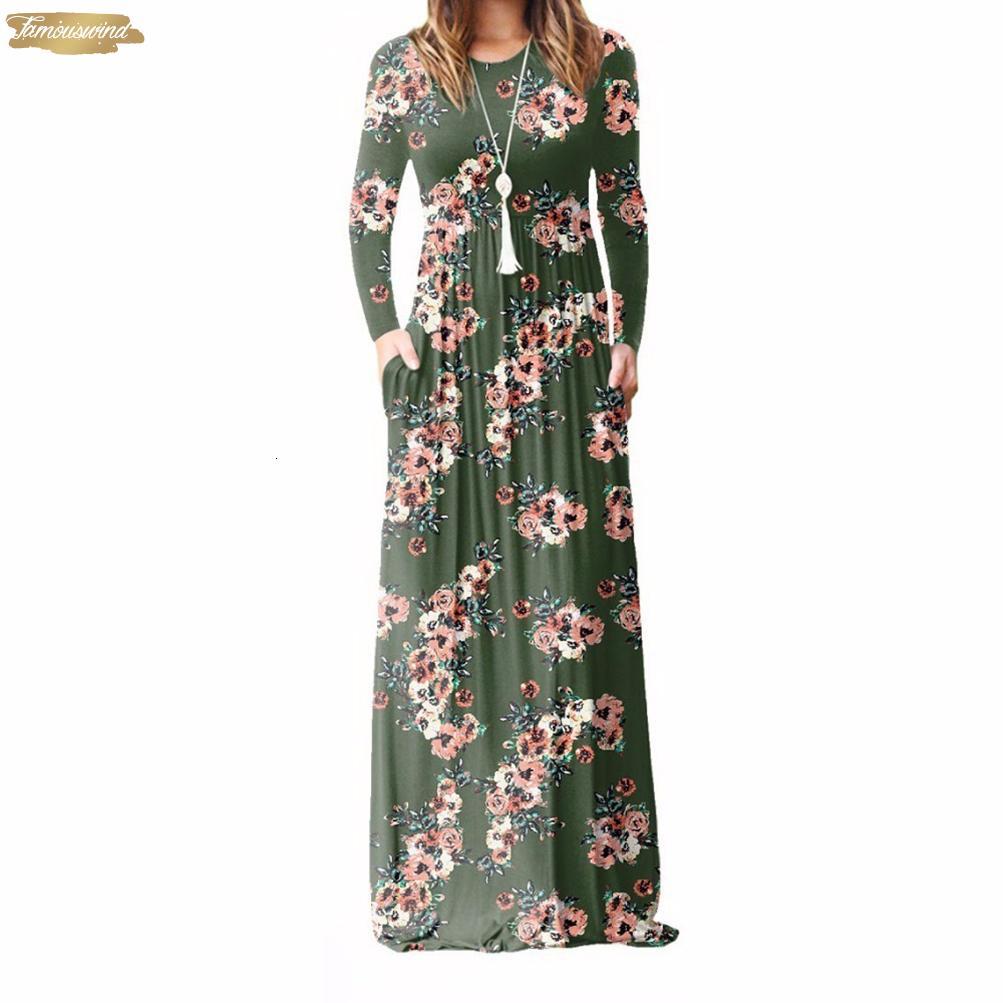 Осень Xxl Размер Длинные платья вскользь Женщины Plus Maxi платье Dropship Повседневный Длина пола Sundress Карманы партии 7 Дизайнер одежды
