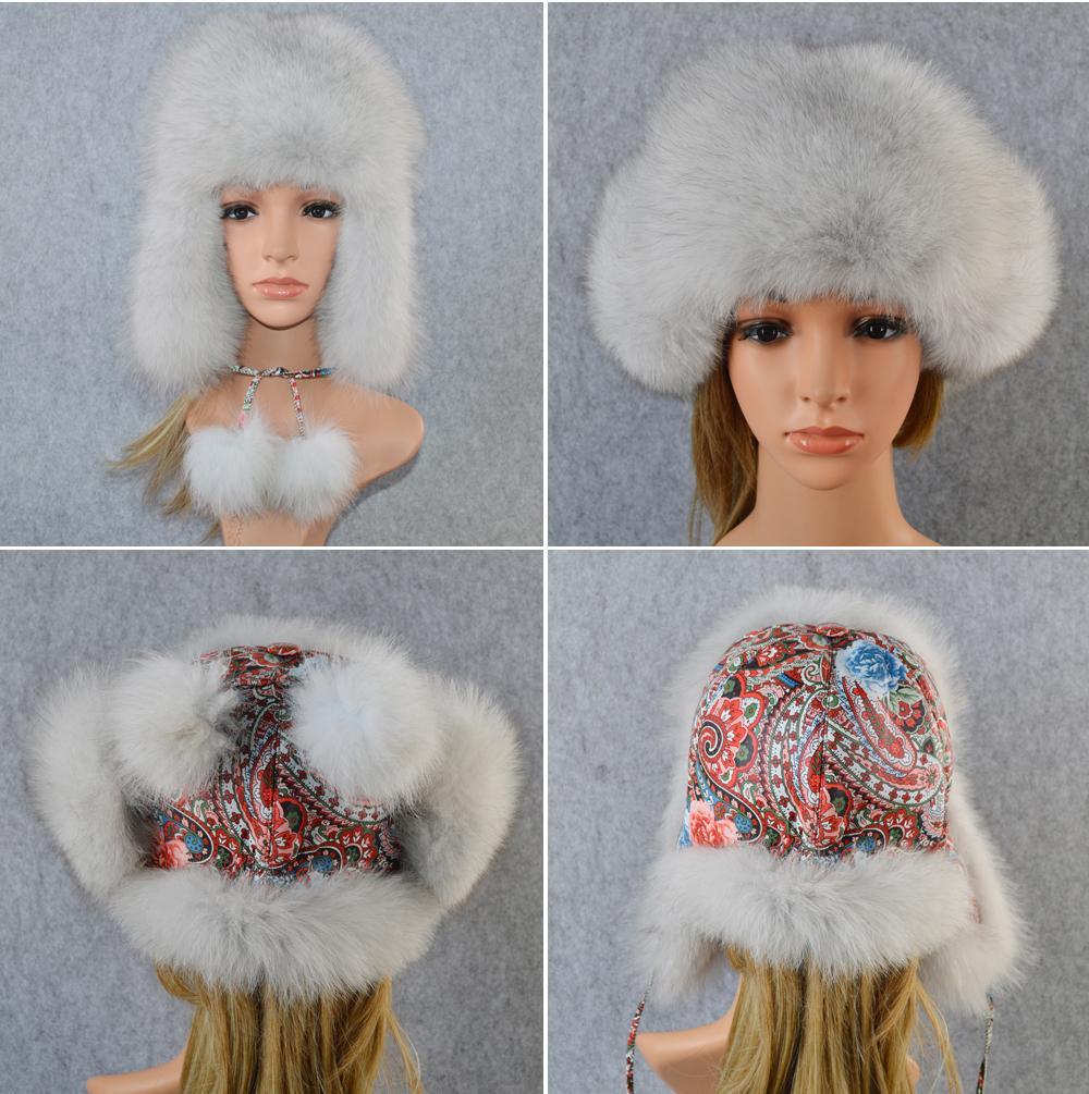 2019 Mujeres Real Real Sombrero de piel de zorro Invierno Ushanka Bomber Cap Rusia Nieve Viento Grueso Piel caliente Niñas Real Sleepskin Leather Caps