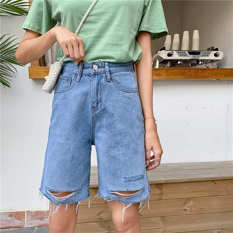 Damen Wickelrock Vintage-Kleidung Denim zerrissene kurze Röcke Blau Harajuku Sommer High Waist Street neue Die neue Art und Weise