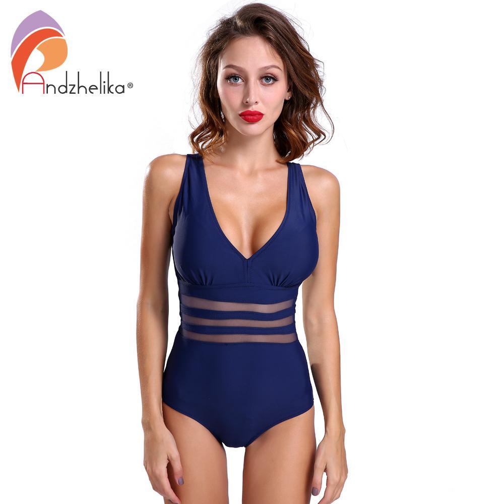 Andzhelika One Piece Swimsuit Women Sexy Solid Mesh Vintage Retro Bathing Suits Beach Wear Swim Monokini Plus Size Swimwear Y19072501