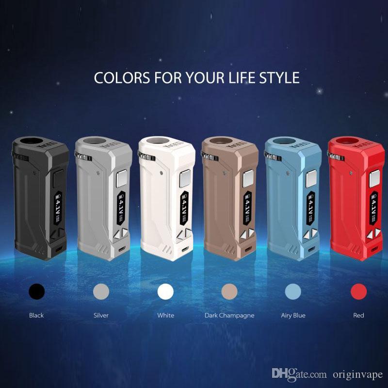 Original Yocan Uni Pro Box Mod 650mAh Pré-aqueça bateria Ajuste VV VW Mini Montagem de 0,5 ml -1.0ml 510 Cartucho de 6 cores