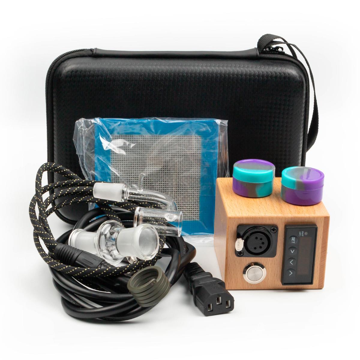Nuevo kit de banger de cuarzo eléctrico enlail Caja de madera Calentador de bobina E Kit de uñas de cuarzo Almohadilla de silicona