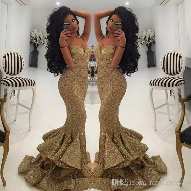 2019 New Designer Bling Gold Sequins Mermaid Prom Dresses Spaghetti Open Back Ruffles Sweep Train Evening Gowns Pageant Dress Formal