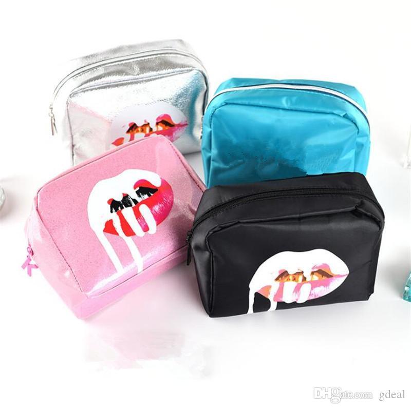 الوردي الأسود الفضة حقيبة الأخضر حقيبة مستحضرات التجميل السيدات غسل السفر ماكياج فرشاة تخزين يحمل ماء بو حقيبة مل 3pcs