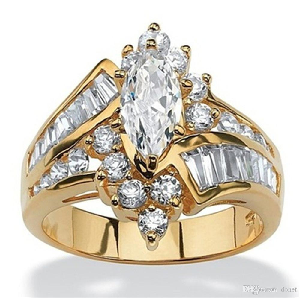 New Fashion 18K Gold Ring Luxury Oval 925 Silver Diamond Jewelry Anniversary Proposal Promise Gift