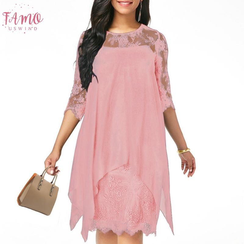 Xs 5Xl Solid Color Three Quarter Sleeve Lace Dress Round Neck Women Elegant Overlay Chiffon Plus Size2019 New Fashion