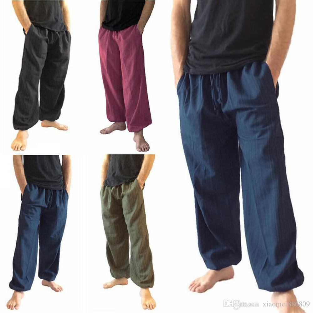 Men/'s Pants With Drawstring Comfortable Long Trousers Fashion Casual Loose Pants
