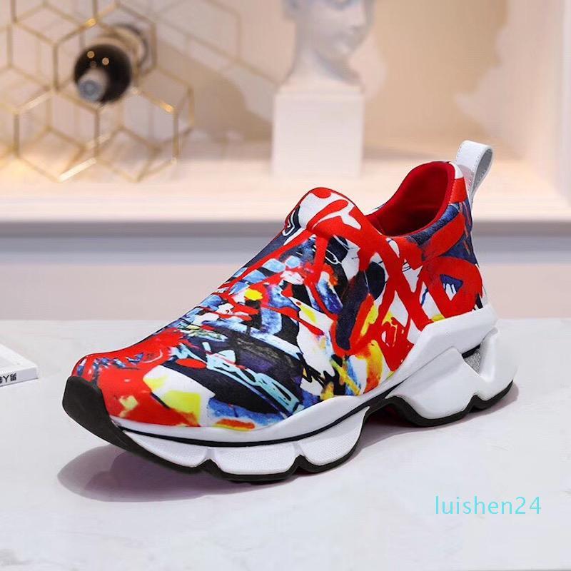 2019 Tasarımcı Ayakkabı Spike Çorap Erkekler Sneakers platformu Kırmızı Donna Düz lastik Bayan Kırmızı Alt başak Lüks Ayakkabı Düz eğitmenler 16 renk l24