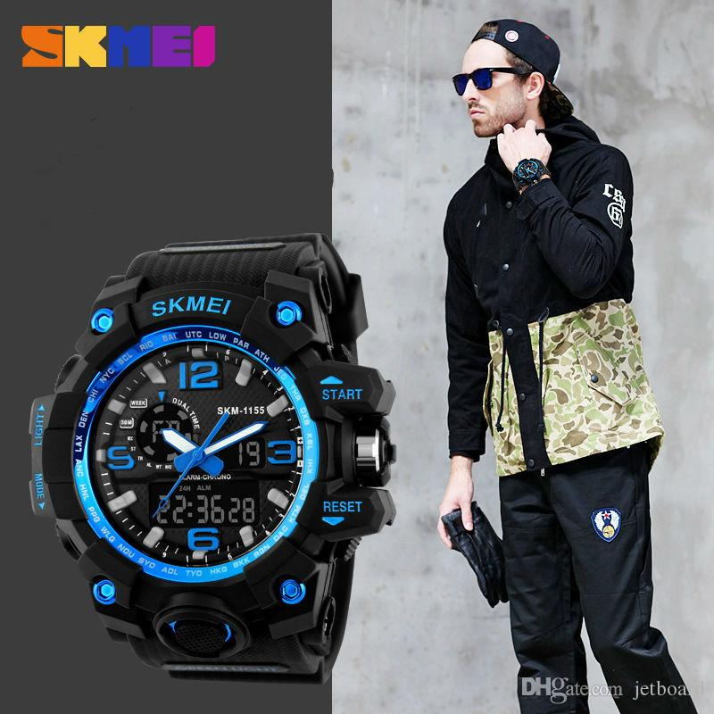 SKMEI tactical watch 1155 Christmas Xmas gifts analog digital Wrist Watches for Men Watch sport with stainless steel back