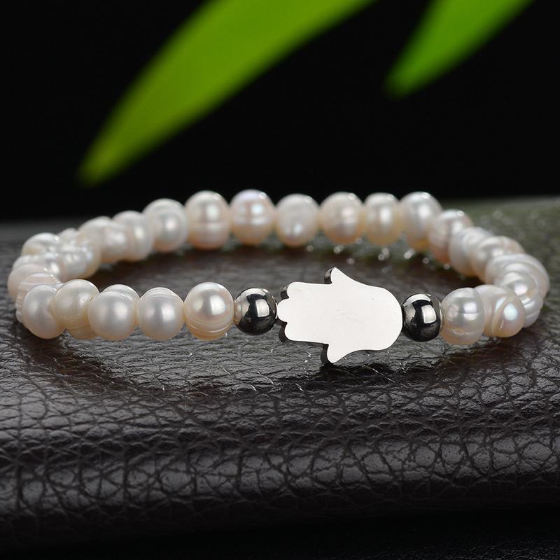 Natural de água doce Pérola Beads Fatima Mão Mal Eye Bracelet White Pearl Bracelet Belas Elastic Jóias Cord por Mulheres
