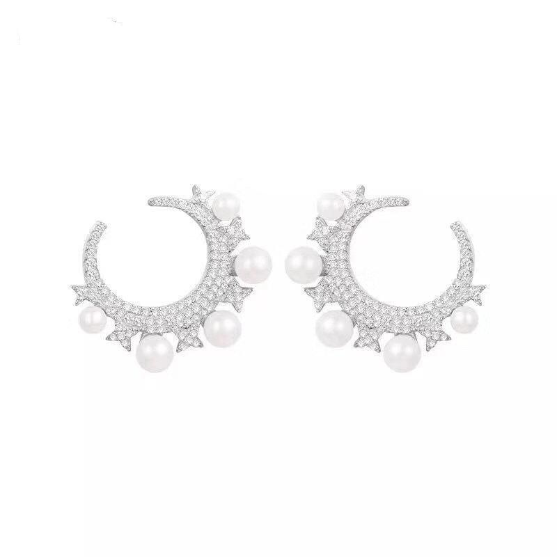 earrings moon and natural pearl ear studs for women