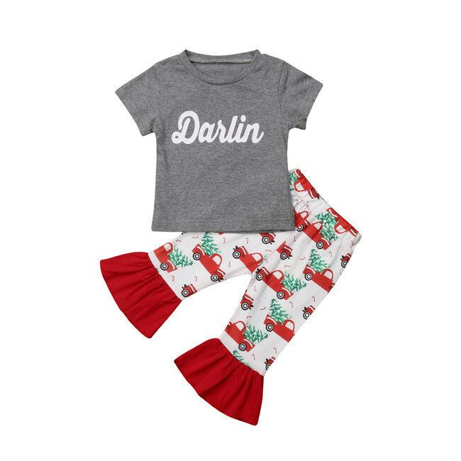 USA My First Infant Toddler Baby Girls Clothes Darlin Tops Flared Pants Outfit Clothes Set Summer Clothes 2pcs