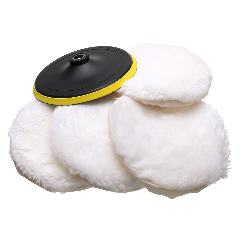 Car Wash Mantenimiento esponjas, paños Cepillos 5Pcs automóviles kit Pulidora Buffer un coche de lana suave del capo limpieza almohadilla blanca 4-7 pulgadas
