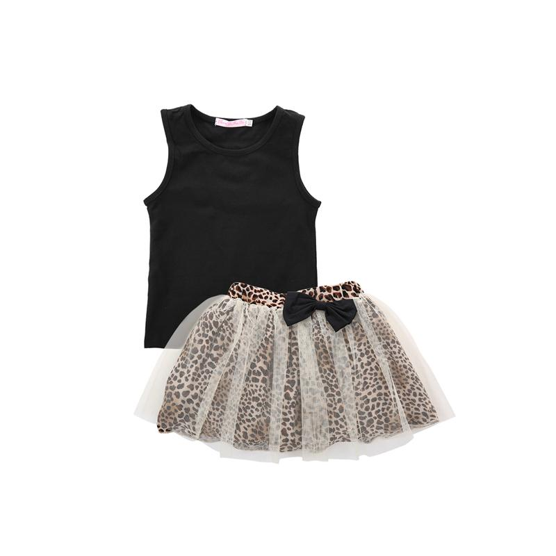 2PCS Moda Casual recém-nascido Criança Bebés Meninas mangas O-Neck pulôver camisa preta Tops Imprimir Lace Summer Party Outfit Skirt