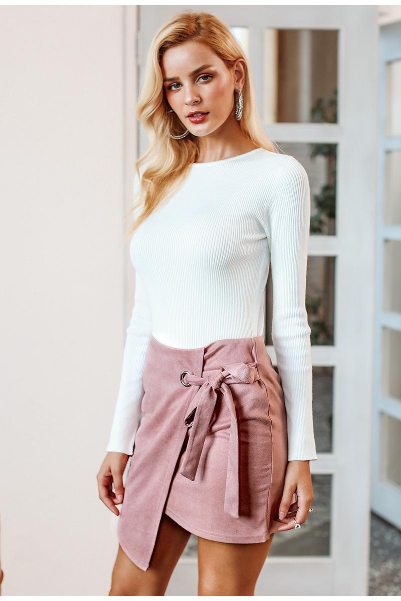 Yaz Yeni Bayanlar Sıcak Moda Lacing Katı Renk Seksi İnce Paketi Kalça Etek Sokak Hipster Trendy Stretch geyik derisi Etek Sıcak Satış