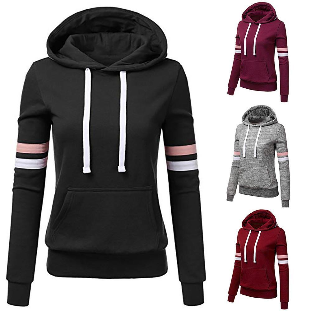 Woman Hoodie Sweatshirts ladies women's hoodies Women Stripe Long Sleeve Blouse Hooded Pocket Pullover Tops Shirt
