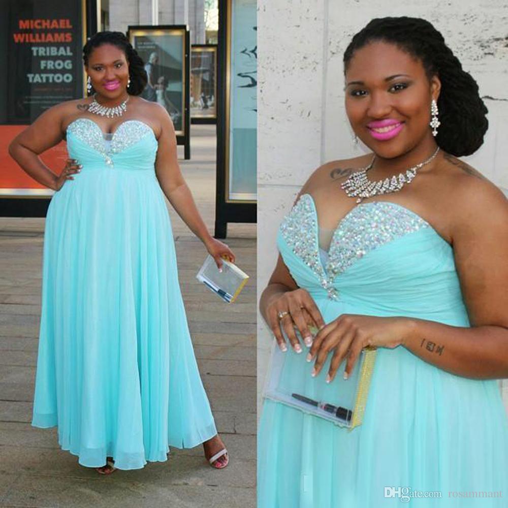 Luz Do Aqua Sparkly Vestidos De Noite De Cristal Vestidos Formais Plus Size Querida Strass Império Cintura Sem Encosto Barato Prom Vestidos