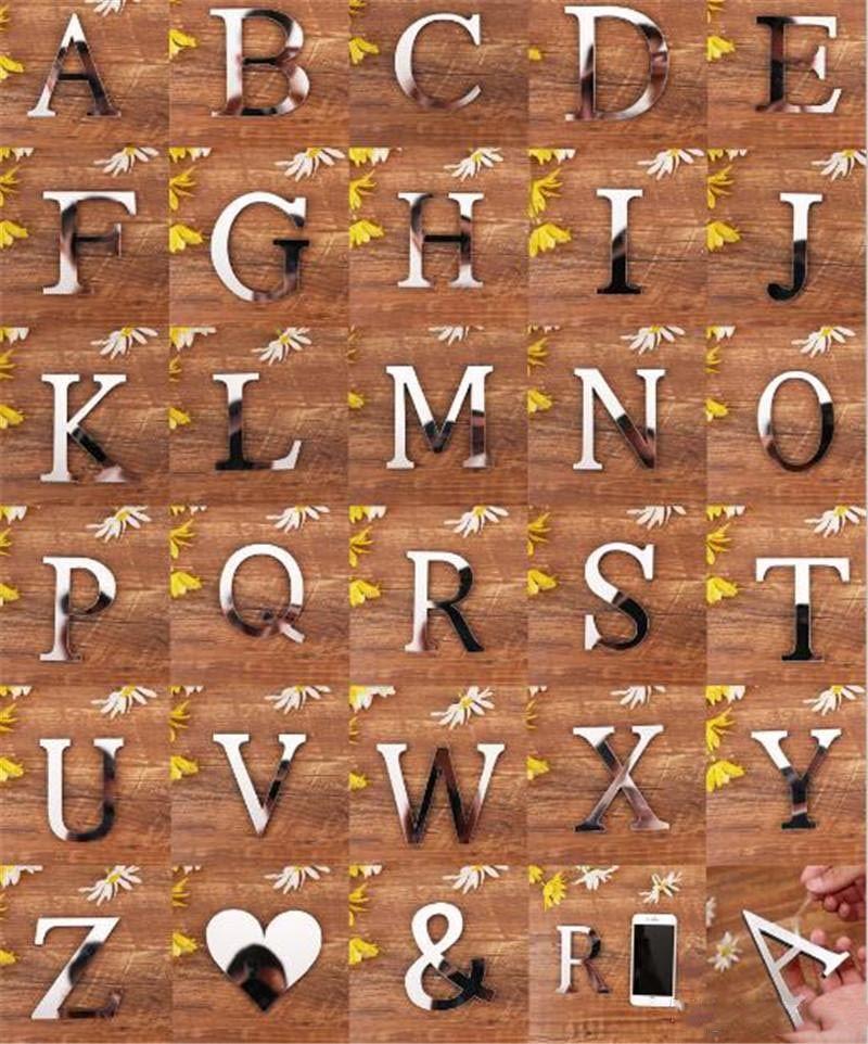 28 İngilizce Harfler Aşk kalp Akrilik Ayna Yüzey Duvar Sticker 3D Gümüş Alfabe Poster Yatak Odası Festivali Parti Dekorasyon DIY Sanat Mural