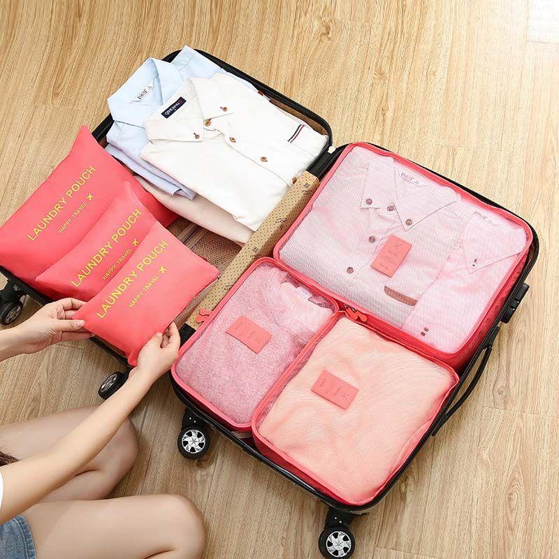 Casos de viaje ropa ordenado del bolso Caja de almacenamiento de la maleta del equipaje funda con cremallera sujetador de la ropa interior de cosméticos Organizador portátil a prueba de agua caja de almacenamiento 6Pcs