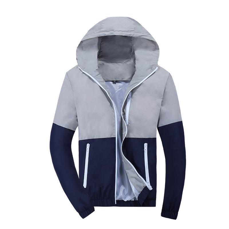 Jacket Homens Windbreaker Primavera Moda Outono jaqueta com capuz Casual Brasão Jackets Masculino de Homens Brasão Outwear Casal desgastar Homens