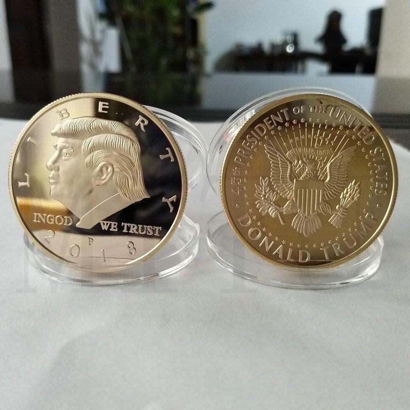 Donald Trump Trump Commemorative Coin président américain Avatar Pièces d'or Badge d'argent Metal Craft Collection Aigle Coin