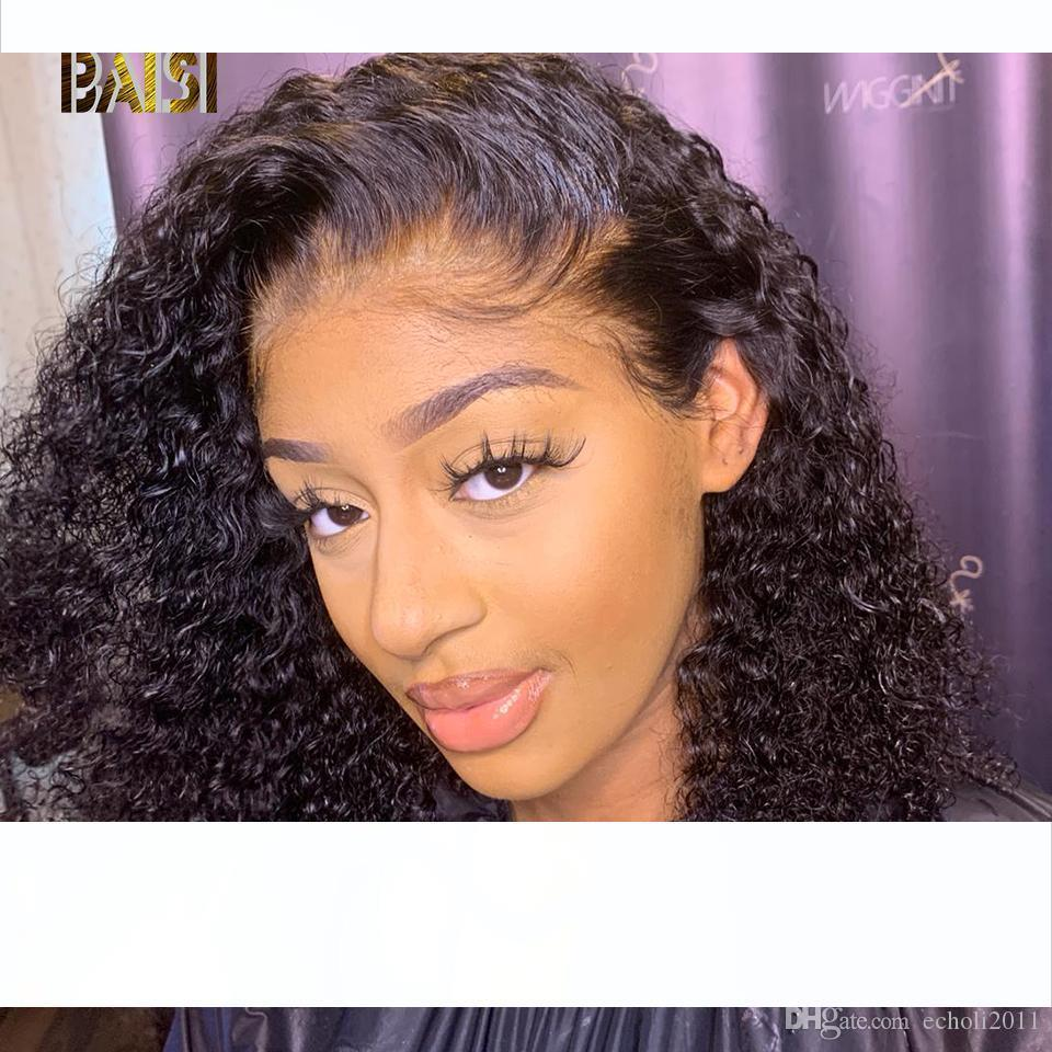 Bob parte dianteira do laço humano perucas de cabelo com bebê Pré cabelo arrancado do cabelo brasileiro de 130% cheia do laço Curly curto Bob peruca Mulheres Preto Para