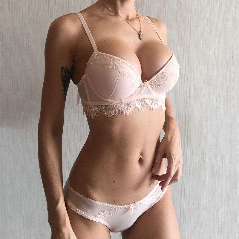 Sexy Bra Set New Push Up Bra Panties Define Lace Lingerie 4 Taça Brassiere Verde V profundo Underwear Mulheres Bras Preto Cotton