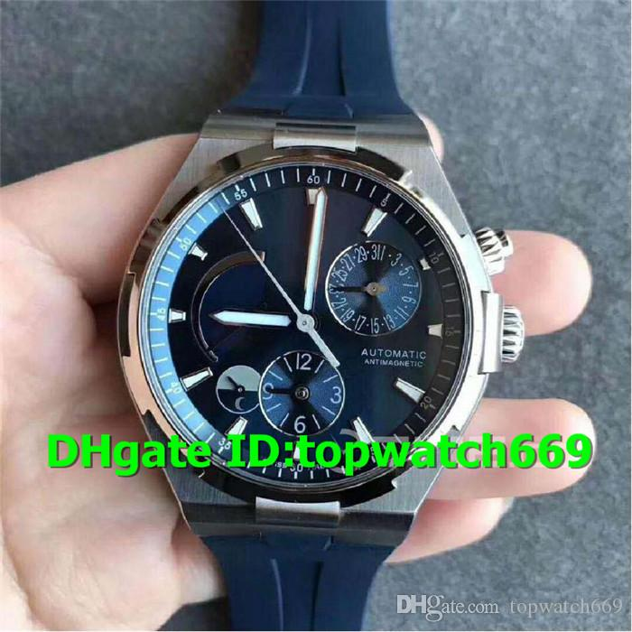 TWA Top Luxury Watch 47450/000A-9039 Watch Dual Time Power Reserve Stainless Steel Case Rubber Strap 1222 Automatic Movement Men Watch