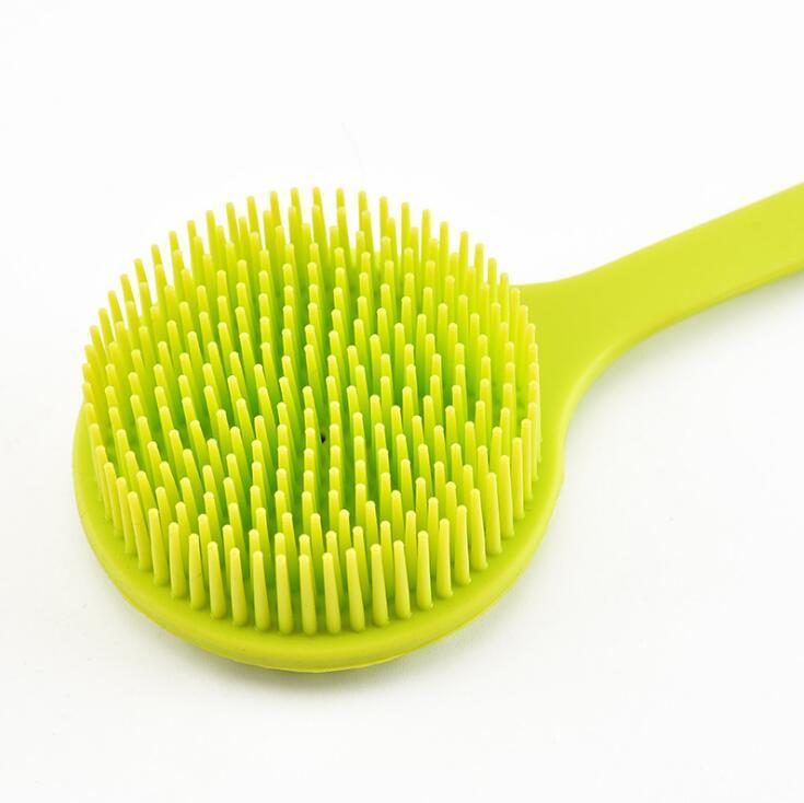 2020 Long Handle Silicone Bath Brush Eco Friendly Exfoliator Massage Brush Cleaning Shower Scrubber For Body Back