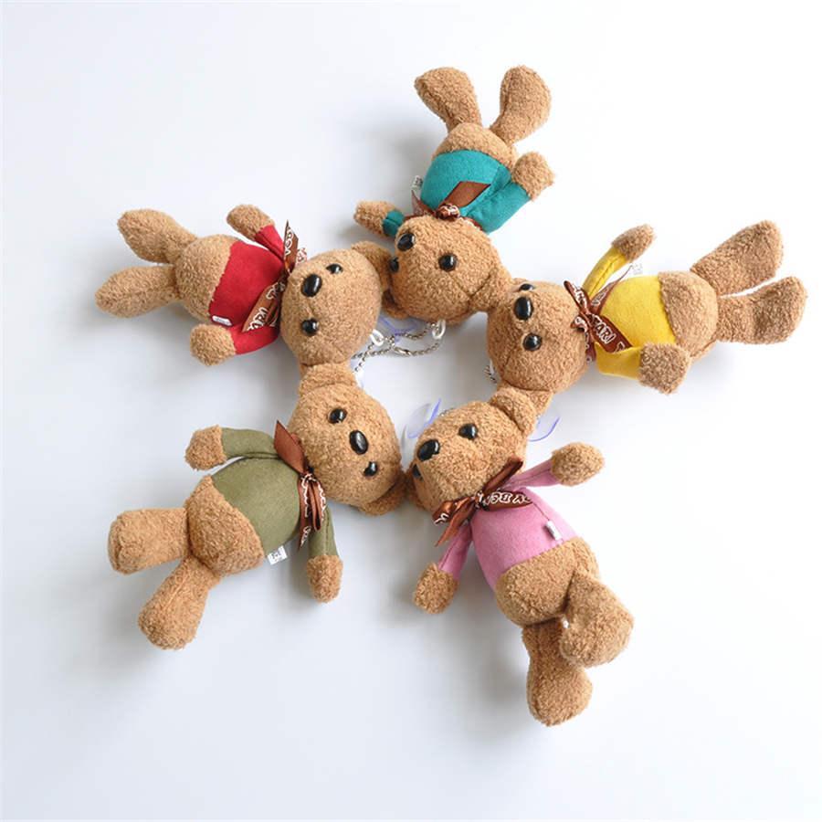 10CM Mini peluche ours en peluche en peluche Jouets ours en peluche blanc mignon Pendentif Cadeaux Poupées de fête d'anniversaire de mariage Décor