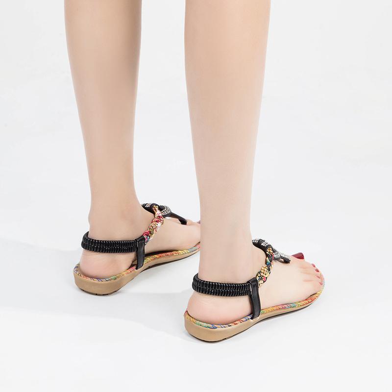 Kadınlar Bohemia Sandalet Bling Thong Kadın T Kayış Flats Boncuk Beach Ayakkabı Rahat 2020 Yeni Yaz Modası Sandalet