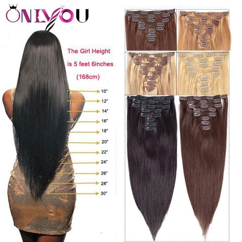 Uzantıları 8pcs yılında Yeni Brezilyalı Virgin Düz İnsan Saç Klip / İnsan Saç Uzantıları 14-24 inç Full Başkanı Vücut Dalga Doğa Clip set